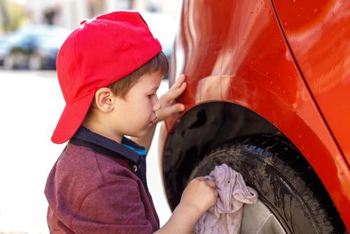 Teach kids proper car washing techniques