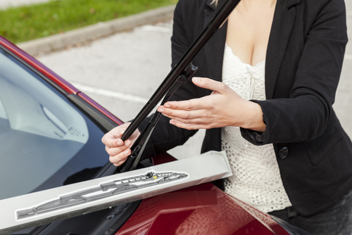 Change your cars windshield wiper blades at the car wash -- make it a seasonal maintenance routine
