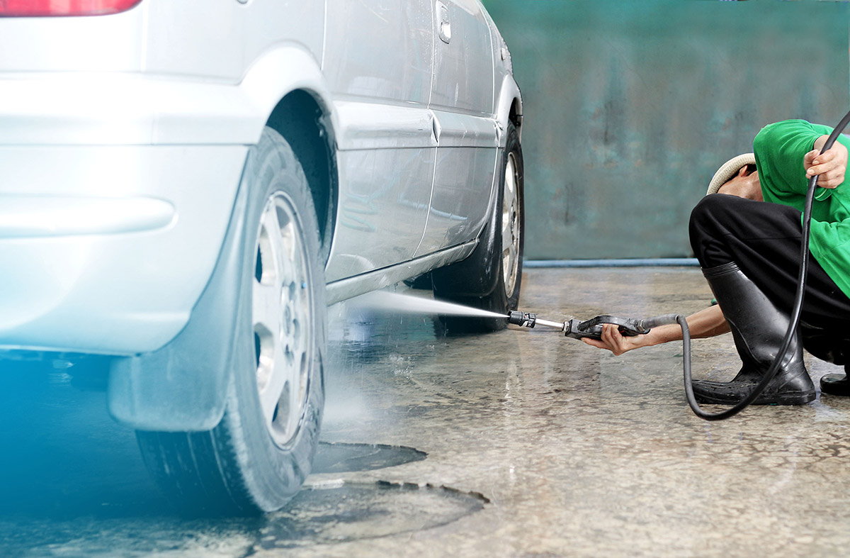 Spray to clean car undercarriage